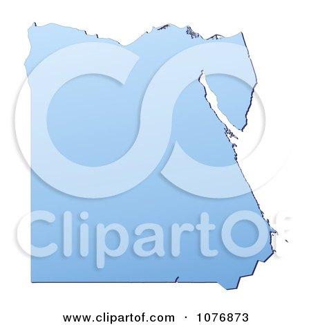 Clipart Gradient Blue Egypt Mercator Projection Map - Royalty Free CGI Illustration by Jiri Moucka