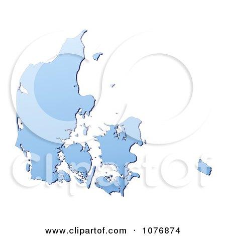 Clipart Gradient Blue Denmark Mercator Projection Map - Royalty Free CGI Illustration by Jiri Moucka