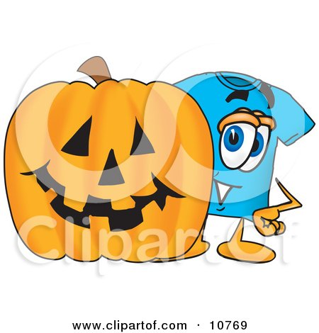 Clipart Picture of a Blue Short Sleeved T-Shirt Mascot Cartoon Character With a Carved Halloween Pumpkin by Toons4Biz
