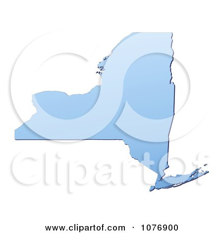 Clipart Gradient Blue New York United States Mercator Projection Map - Royalty Free CGI Illustration by Jiri Moucka