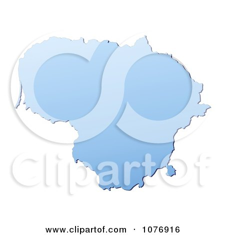 Clipart Gradient Blue Lithuania Mercator Projection Map - Royalty Free CGI Illustration by Jiri Moucka