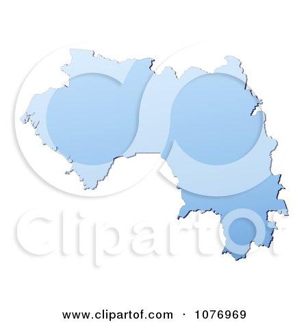 Clipart Gradient Blue Guinea Mercator Projection Map - Royalty Free CGI Illustration by Jiri Moucka