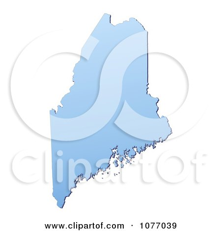 Clipart Gradient Blue Maine United States Mercator Projection Map - Royalty Free CGI Illustration by Jiri Moucka