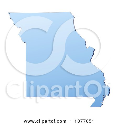 Clipart Gradient Blue Missouri United States Mercator Projection Map - Royalty Free CGI Illustration by Jiri Moucka