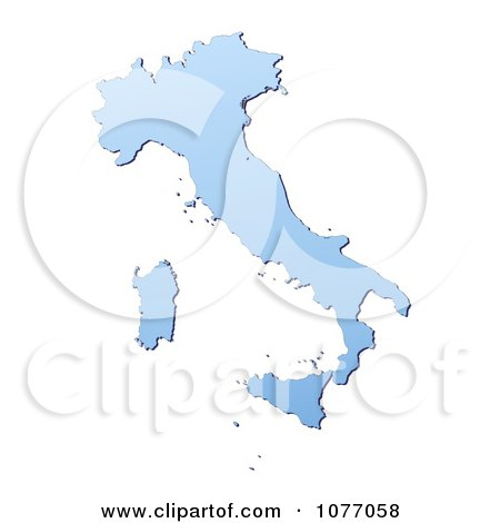 Clipart Gradient Blue Italy Mercator Projection Map - Royalty Free CGI Illustration by Jiri Moucka