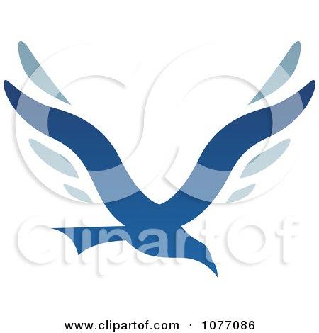 Clipart Blue Bird Letter V Logo - Royalty Free Vector Illustration by cidepix