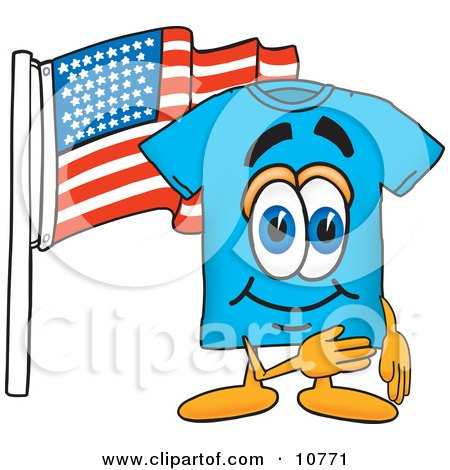 Clipart Picture of a Blue Short Sleeved T-Shirt Mascot Cartoon Character Pledging Allegiance to an American Flag by Toons4Biz