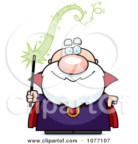 Clipart Bald Wizard Holding A Magic Wand - Royalty Free Vector Illustration by Cory Thoman