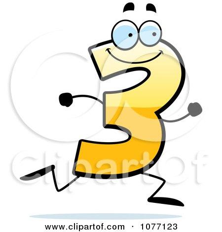 Running Yellow Number Three 1077123