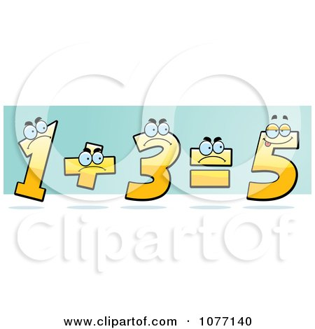 Clipart Yellow One And Three Adding Up And Showing The Incorrect Answer Of Five - Royalty Free Vector Illustration by Cory Thoman