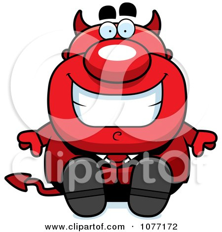 Clipart Sitting Devil Businessman - Royalty Free Vector Illustration by Cory Thoman