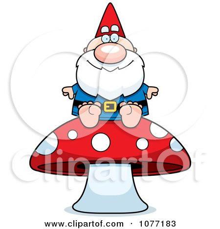 Clipart Gnome Sitting On A Mushroom - Royalty Free Vector Illustration by Cory Thoman