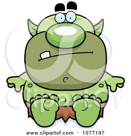 Cartoon Clipart Of A Black And White Tall Fantasy Goblins ...