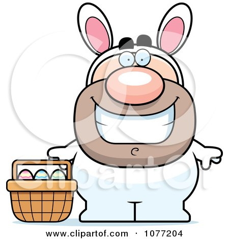 Clipart Happy Man In An Easter Bunny Costume - Royalty Free Vector Illustration by Cory Thoman