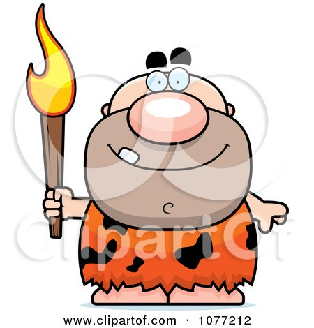 Caveman Holding A Torch Posters, Art Prints