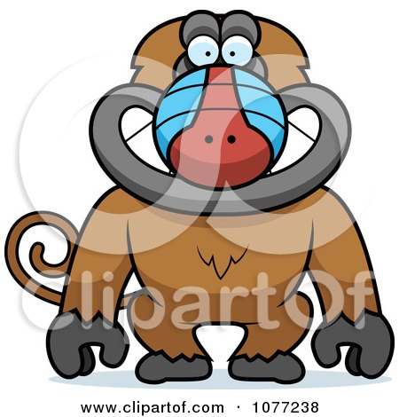 Clipart Smiling Baboon Monkey - Royalty Free Vector Illustration by Cory Thoman