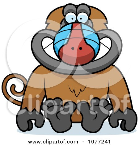 Clipart Sitting Baboon Monkey - Royalty Free Vector Illustration by Cory Thoman