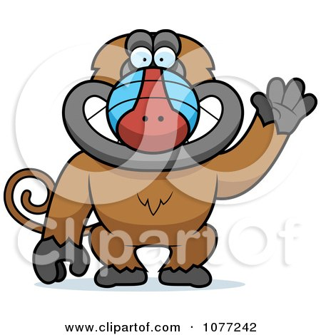 Clipart Friendly Baboon Monkey Waving - Royalty Free Vector Illustration by Cory Thoman