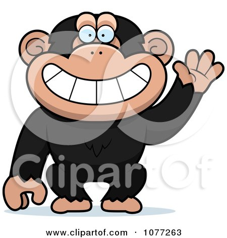 Clipart Friendly Waving Chimp Monkey - Royalty Free Vector Illustration by Cory Thoman