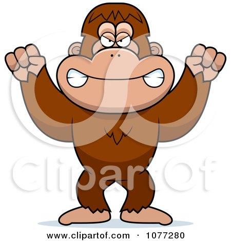 Clipart Mad Bigfoot Sasquatch - Royalty Free Vector Illustration by Cory Thoman
