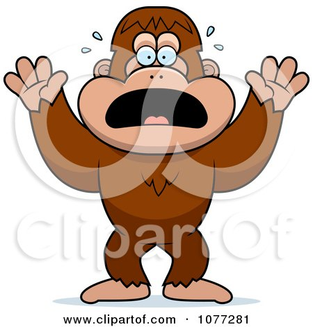 Clipart Frightened Bigfoot Sasquatch - Royalty Free Vector Illustration by Cory Thoman