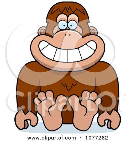 Clipart Sitting Bigfoot Sasquatch - Royalty Free Vector Illustration by Cory Thoman