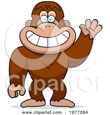 Clipart Friendly Waving Bigfoot Sasquatch - Royalty Free Vector Illustration by Cory Thoman