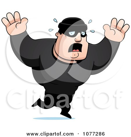 Clipart Frightened Male Robber In Black - Royalty Free Vector Illustration by Cory Thoman