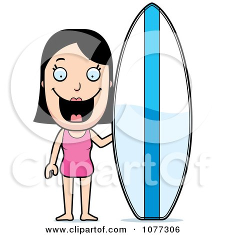 Clipart Summer Woman With A Surfboard - Royalty Free Vector Illustration by Cory Thoman
