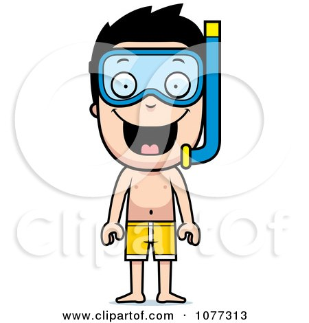 Clipart Happy Summer Boy Wearing Snorkel Gear - Royalty Free Vector Illustration by Cory Thoman