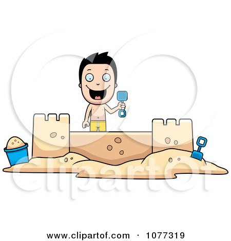 Clipart Happy Summer Boy Building A Sand Castle - Royalty Free Vector Illustration by Cory Thoman