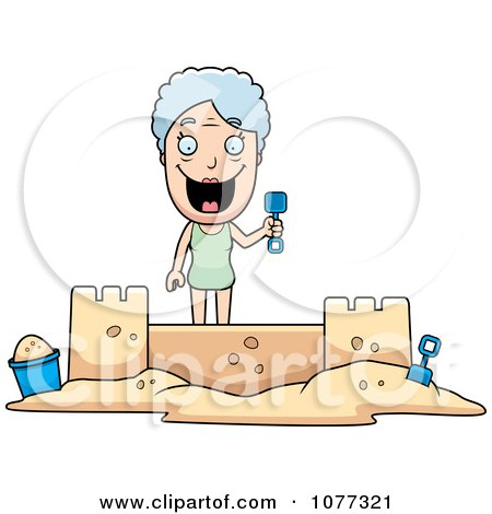 Clipart Senior Granny Woman Building A Sand Castle - Royalty Free Vector Illustration by Cory Thoman