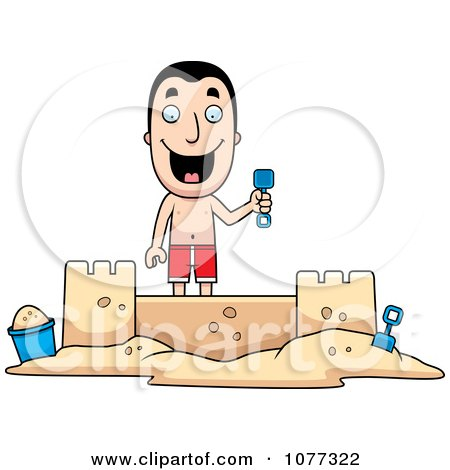 Clipart Summer Man Building A Sand Castle - Royalty Free Vector Illustration by Cory Thoman