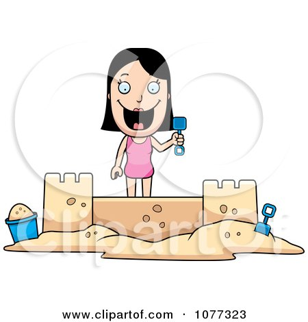Clipart Summer Woman Building A Sand Castle - Royalty Free Vector Illustration by Cory Thoman