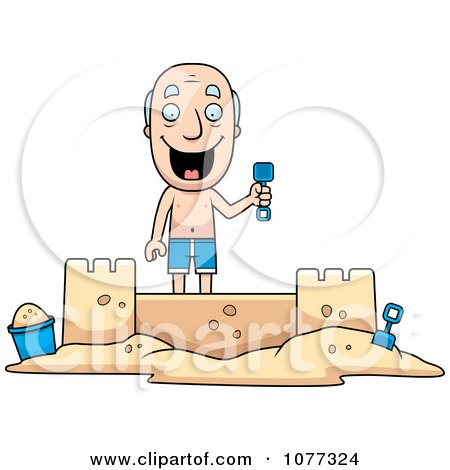 Clipart Summer Grandpa Building A Sand Castle - Royalty Free Vector Illustration by Cory Thoman