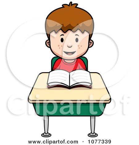 Clipart School Boy Reading At His Desk - Royalty Free Vector Illustration by Cory Thoman