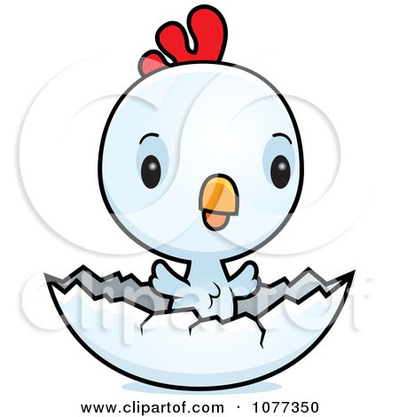 Clipart Cute Baby White Rooster Chick Hatching - Royalty Free Vector Illustration by Cory Thoman
