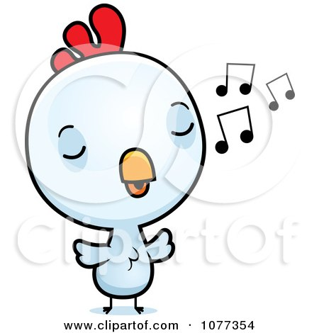 Clipart Cute Baby White Rooster Chick Whistling - Royalty Free Vector Illustration by Cory Thoman