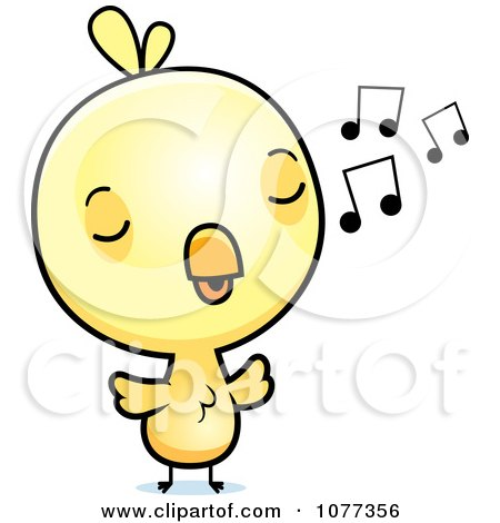 Clipart Cute Baby Yellow Chick Whistling - Royalty Free Vector Illustration by Cory Thoman