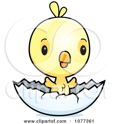 Clipart Cute Baby Yellow Chick Hatching - Royalty Free Vector Illustration by Cory Thoman