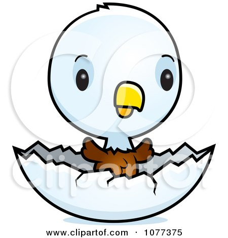 Clipart Cute Baby Bald American Eagle Chick Hatching - Royalty Free Vector Illustration by Cory Thoman