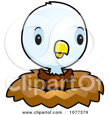 Clipart Cute Baby Bald American Eagle Chick In A Nest - Royalty Free Vector Illustration by Cory Thoman