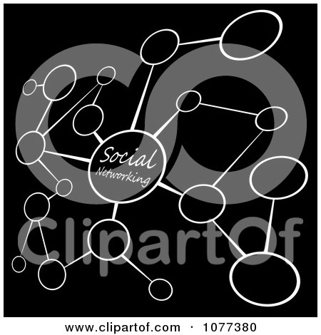 Clipart Black And White Social Networking Diagram With Blank Bubbles - Royalty Free Illustration by Arena Creative