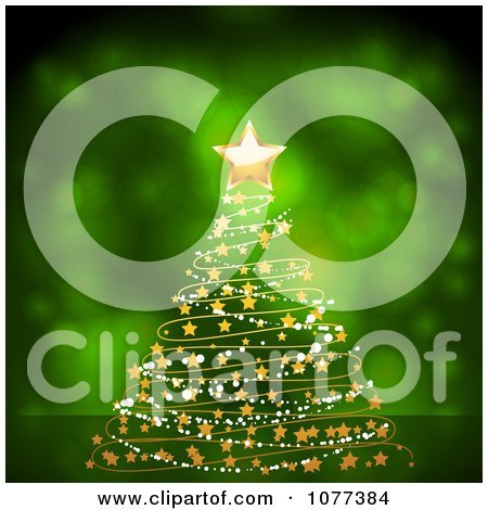 Clipart 3d Gold Star On A Garland Christmas Tree Over Green - Royalty Free Vector Illustration by elaineitalia