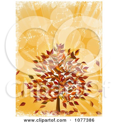 Clipart Fall Tree With Autumn Leaves Over Orange Grunge - Royalty Free Vector Illustration by elaineitalia