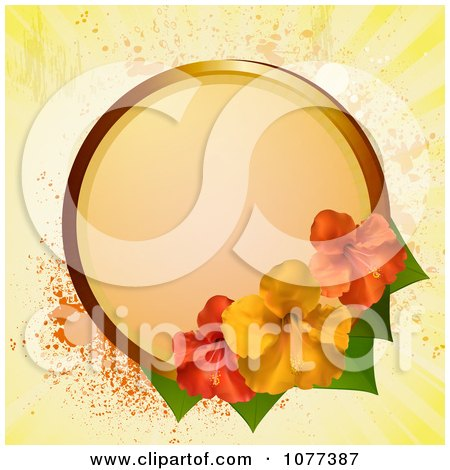 Clipart Circular Frame With Red And Yellow Hibiscus Flowers Over Yellow Grunge - Royalty Free Vector Illustration by elaineitalia