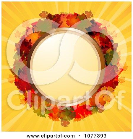 Clipart 3d Circular Autum Leaf Frame On Yellow Rays - Royalty Free Vector Illustration by elaineitalia