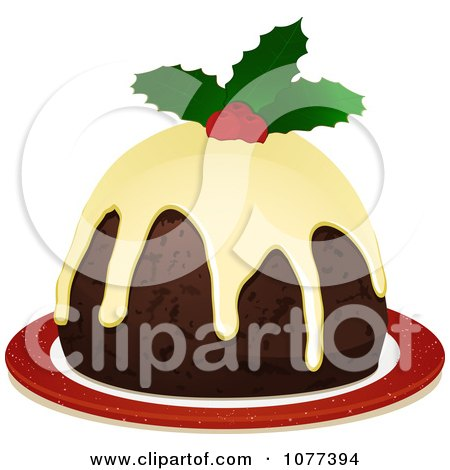 Clipart 3d Christmas Pudding With Frosting And Holly - Royalty Free Vector Illustration by elaineitalia