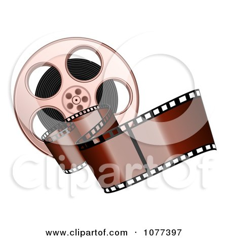 Clipart Brown Film Strip And Reel - Royalty Free Vector Illustration by Oligo