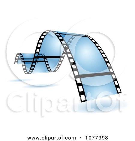 Clipart Blue Wavy Film Strip - Royalty Free Vector Illustration by Oligo